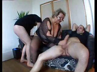 Big Cock Chubby European French Glasses Handjob Mom Old And Young Stockings Threesome