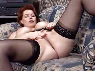 Big Tits Masturbating Mature Pornstar Redhead Stockings