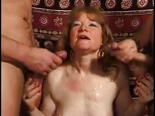 Cumshot European French Redhead Threesome