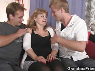 European Family Mom Old And Young Threesome