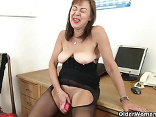British Dildo European Masturbating Pantyhose  Secretary Solo Toy