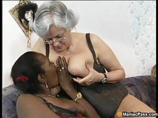 Ebony Glasses Interracial Lesbian Licking