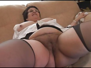 Chubby Close up Hairy Pussy Stockings