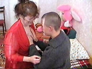 Amateur Glasses Mom Old And Young Russian