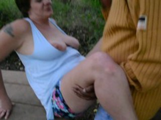 Amateur Chubby Clothed Outdoor  Tattoo