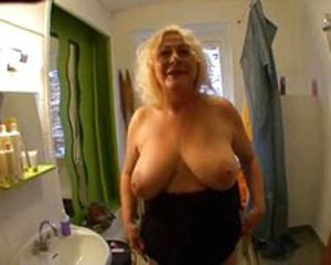 Amateur Bathroom Big Tits Blonde European French Natural  Stripper