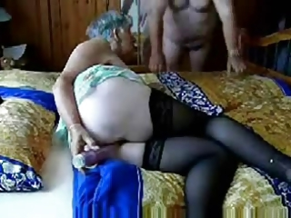 Amateur Dildo Homemade Masturbating Older Stockings Toy Wife