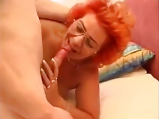Blowjob Glasses Mom Old And Young Redhead