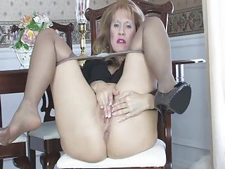 Masturbating Mom Pantyhose Solo