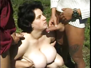 Big Cock Big Tits Chubby Cumshot Farm Mature Natural Old And Young Outdoor Swallow Threesome
